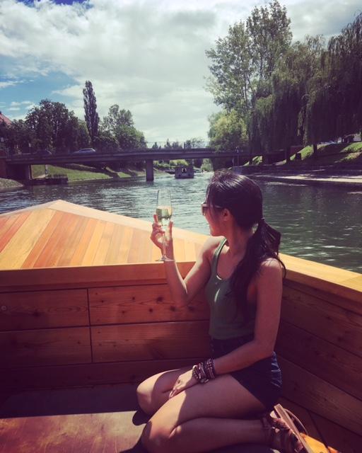 Champagne on Ljubljanica River