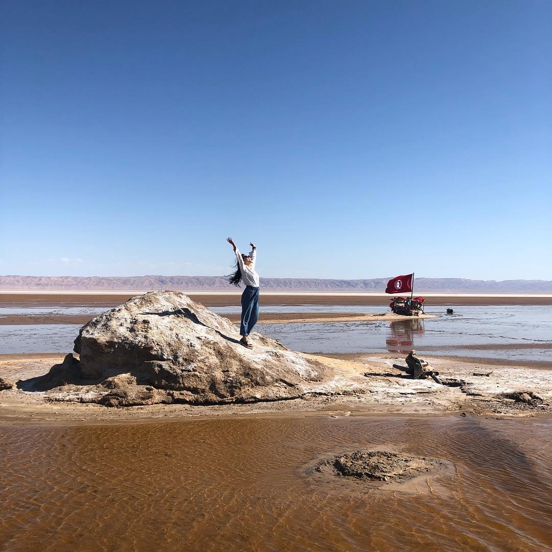 Standing at Chott el Djerid, the largest salt pan in the Saharan Desert.
