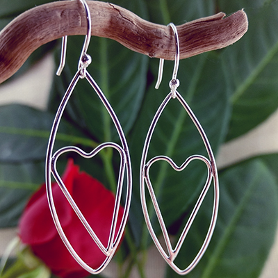 Sterling silver leaf and large heart earrings - $72.