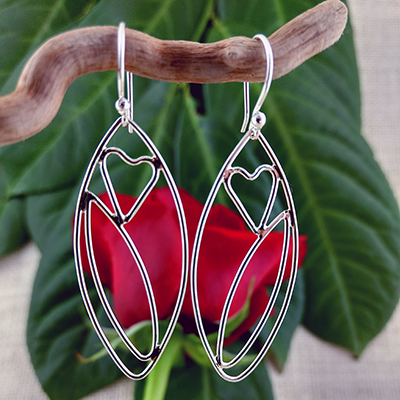 Sterling silver leaf and small heart earrings - $72.
