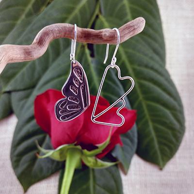 Sterling silver 2-part butterfly wing & double hearts earrings - $106.
