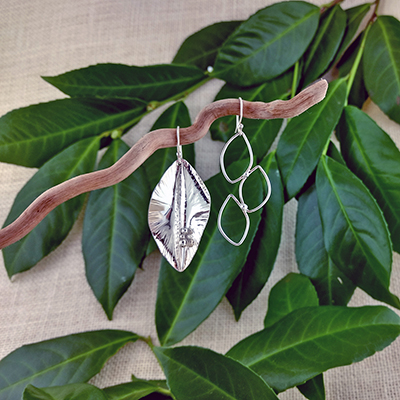 """Sterling Silver foldformed and wire leaves 1.75"""" - $106. - SOLD"""