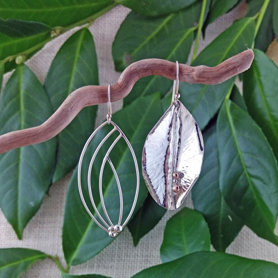 """Sterling Silver foldformed and wire leaves with sterling accents 2.5"""" - $116. - SOLD"""