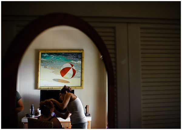 mirror with beach ball kauai wedding
