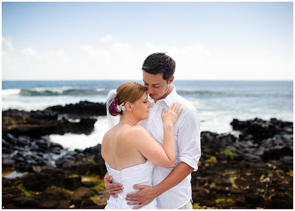 poipu rocky surf wedding portraits