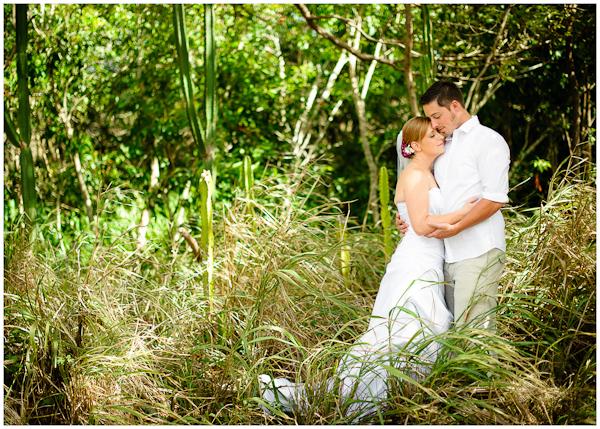 bride and groom moment at kauai wedding in lush jungle
