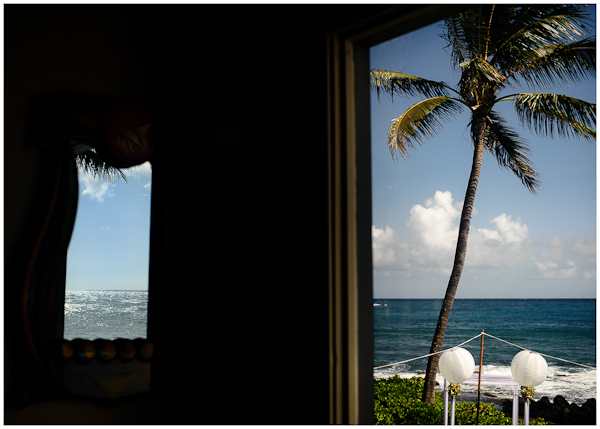 reflection in window vacation rental poipu wedding