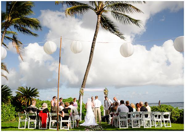wedding in poipu hawaii back yard small intimate ceremony