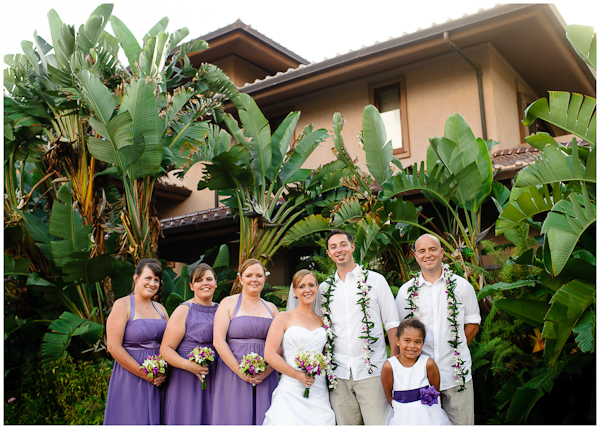 relaxed bridal party portrait in poipu hawaii