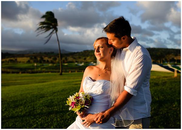 sunset wedding portrait on kauai