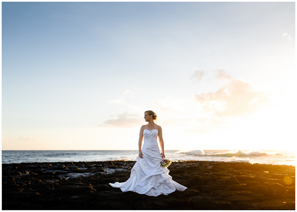 stunning bridal portrait on south shore of poipu kauai at sunset