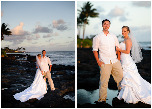 classic hawaii wedding portraits on rocky beach on kauai
