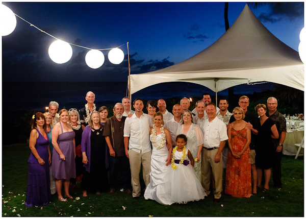 evening wedding reception group picture