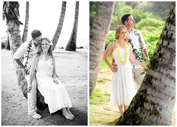 wedding photos in poipu with curved palm trees