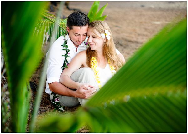 beautiful composition wedding photos palm leaves on beach