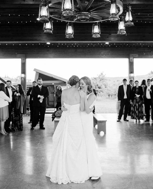 First Dance.⁠ •⁠ •⁠ •⁠ •⁠ •⁠ #weddingmoment #weddinginspiration #firstdance #weddingstyle #mtvieworchards #pnwonderland #oregonweddingphotographer #blackandwhiteisworththefight #bnw #loveislove #lgbtq⁠
