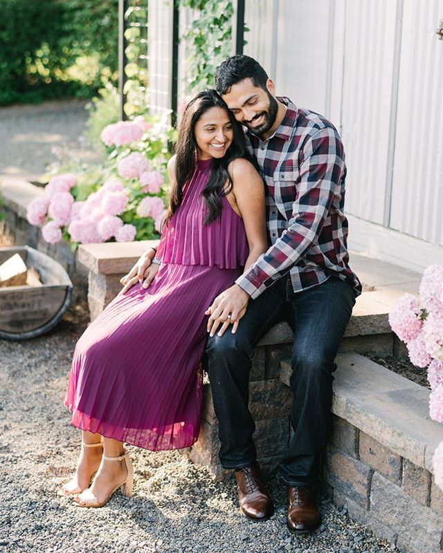 Pretty ridiculous how cute they are. An engagement session at their wedding venue, on the blog today. #abbeyroadfarm #oregonweddingphotographer #indianwedding #engaged