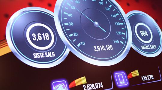 Infoskjerm for salgsstatistikk