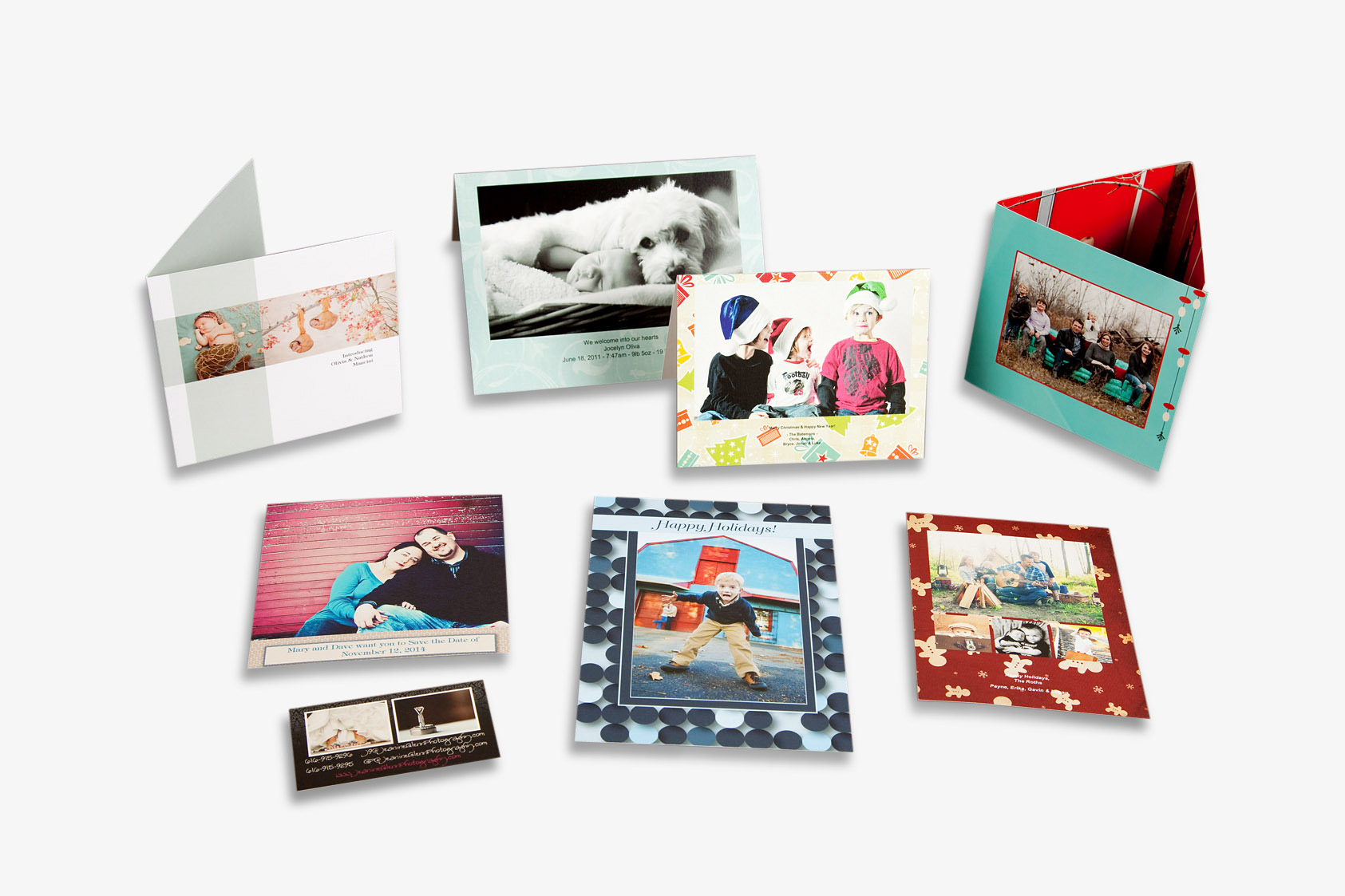 Press Printed Postcards, Folded Greeting Cards, Flat Greeting Cards and Business Cards