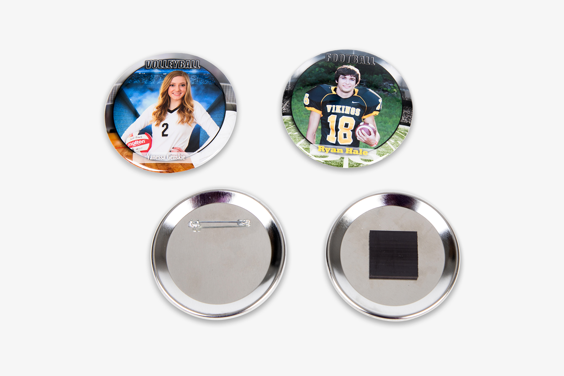 """School and Sports Specific 3"""" Round Button and Round Magnet"""