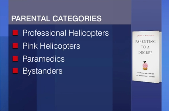 Professional Helicopters : those who carefully orchestrate their daughters' academic and career decisions.   Pink Helicopters : parents who invest their energy and resources largely into their daughters' social successes, mainly in hopes that it will increase their chances of finding a successful marriage partner.   Paramedics : parents who value their daughters' independence, but will intervene when things go wrong.   Bystanders : parents with minimal involvement, normally from lower-middle and working class backgrounds.