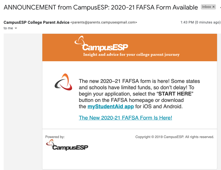 (Above) A sample FAFSA announcement and campaign that's easy to configure.
