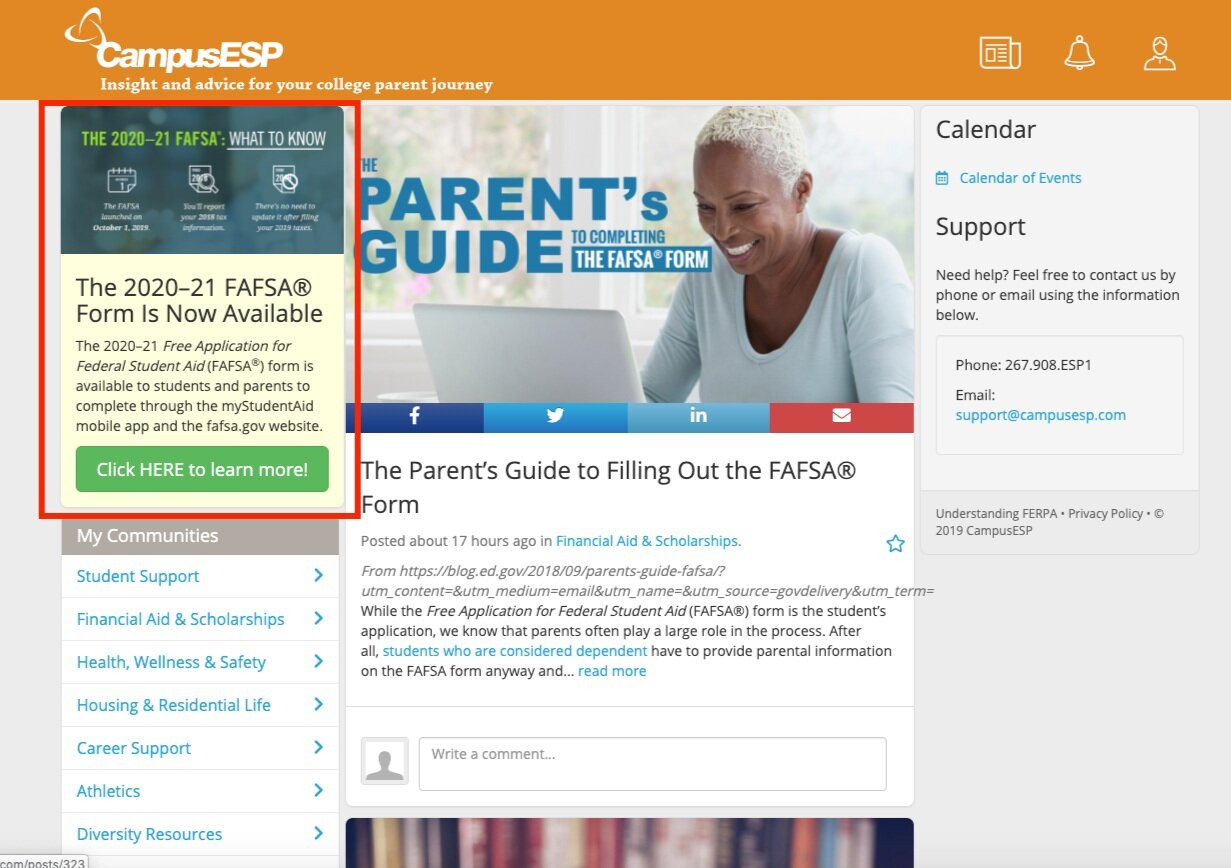 """The """" Click HERE to learn more !"""" button can redirect parents to any URL. In the sample, we used  https://studentaid.ed.gov/sa/about/announcements/fafsa-mobile-options"""