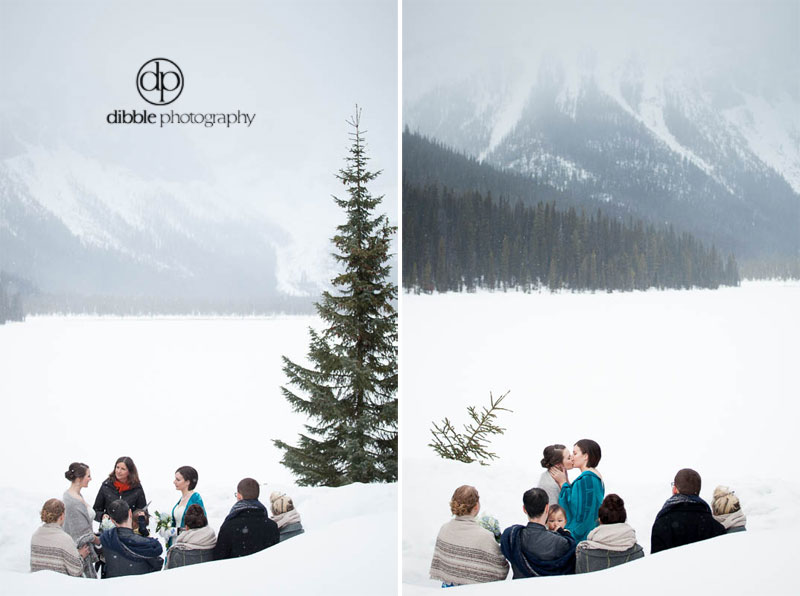winter elopement at emerald lake