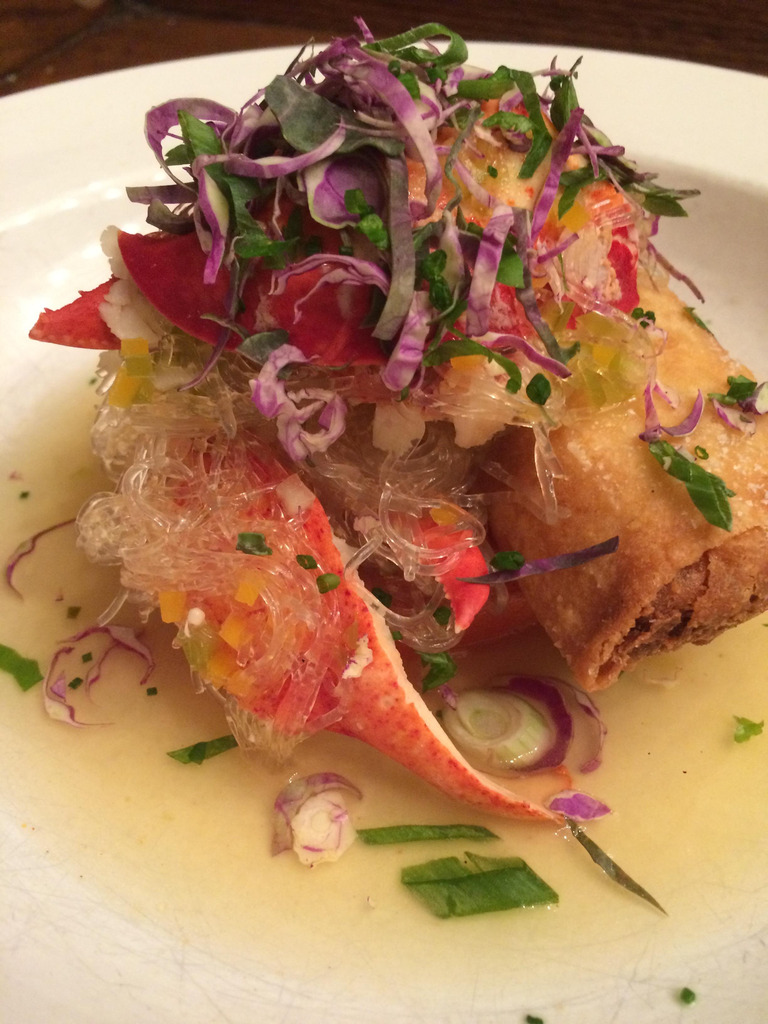 lobster, thai sausage spring roll, kelp nudl.JPG