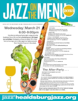 Jazz on the Menu: Wed March 21st at Valette in Healdsburg, CA. Duo with Carlos Henrique Pereira on piano and Randy Vincent on guitar.