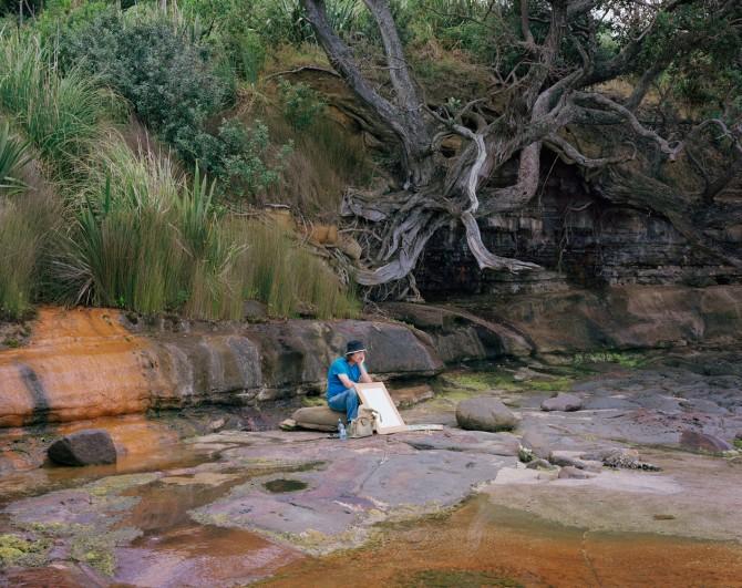 Chris Corson-Scott, Ian Scott Painting At Okoromai Bay, Whangaparaoa, 2013