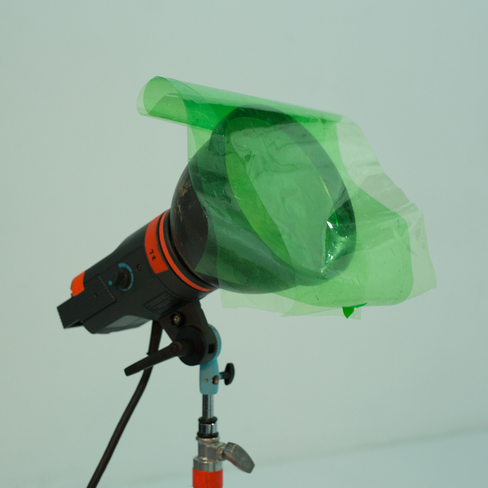 Broncolor P70 nine-inch reflector with green gel