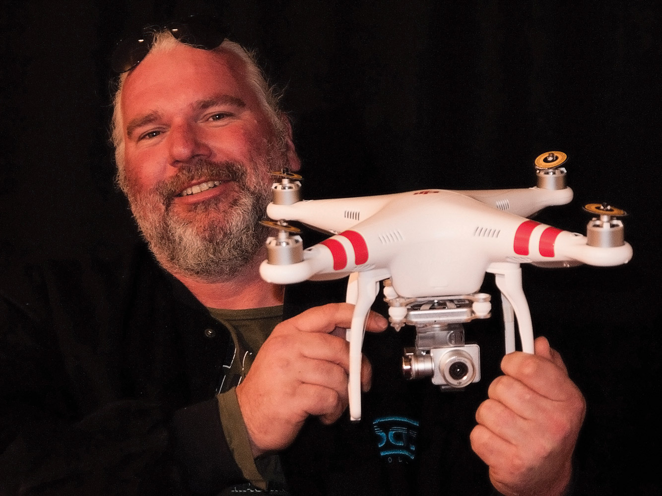 Film lecturer Anthony van den Boggart displaying the SAE's latest purchase: a Phantom 3 Professional drone