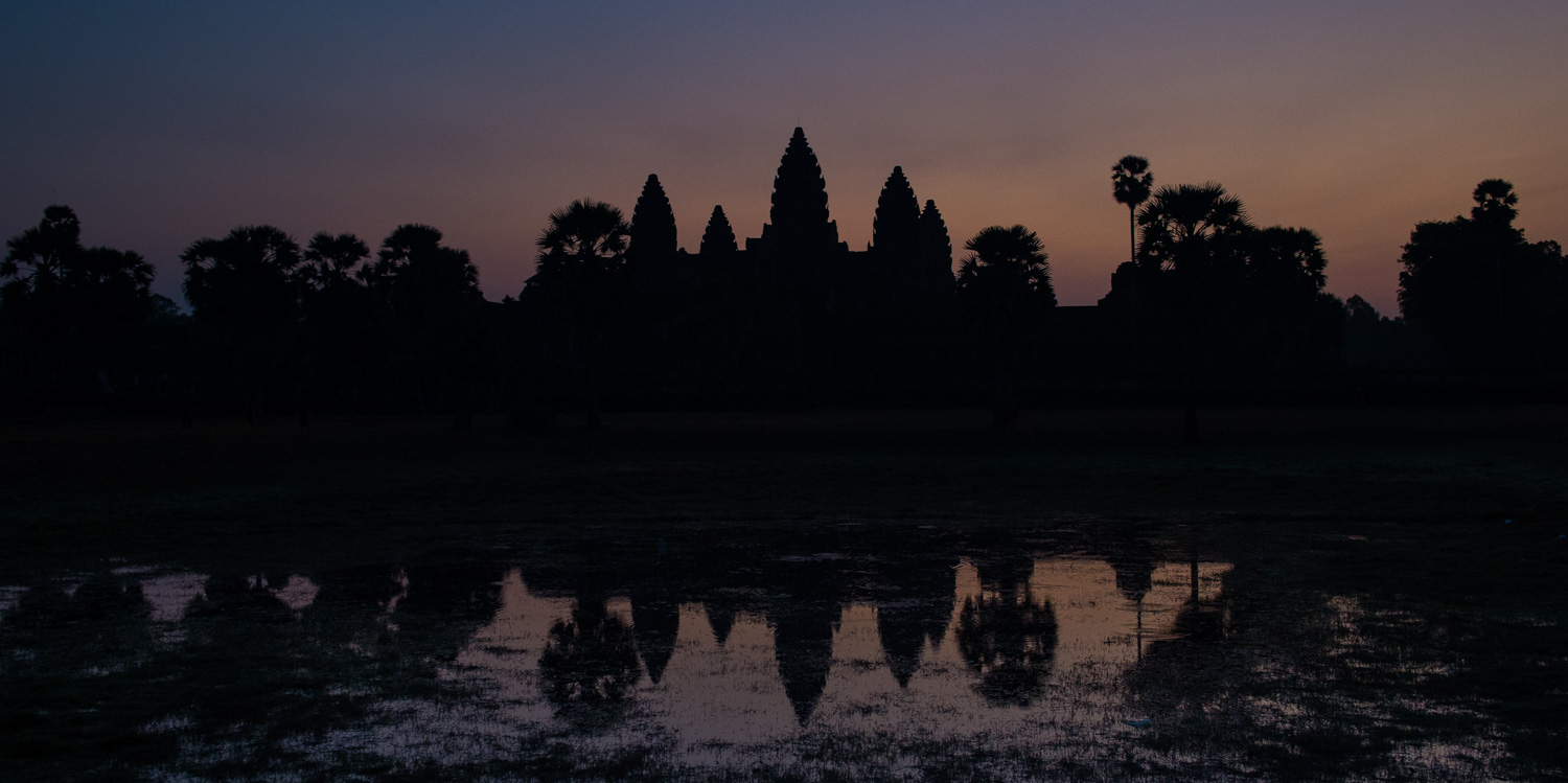 Silhouette shot — sunrise at Angkor Wat; Nikon D4S, 31mm, f/5.6, 1/40s, ISO 1600