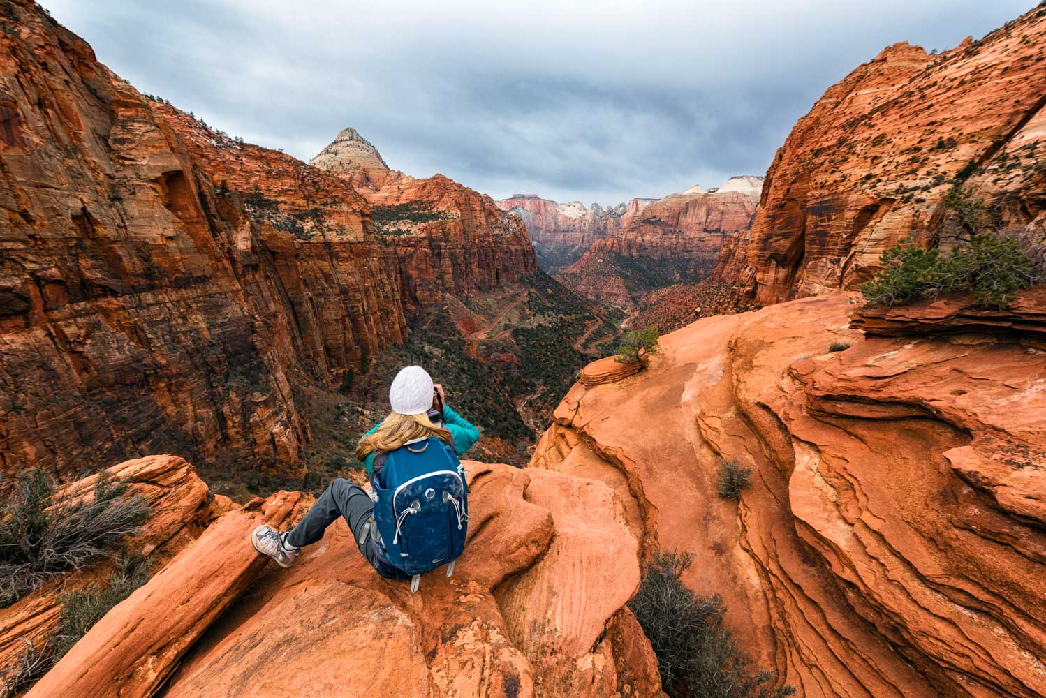 The view from the Canyon Overlook trail at Zion National Park;Nikon D810, 14–24mm, f/5.6, 1/500s, ISO 400