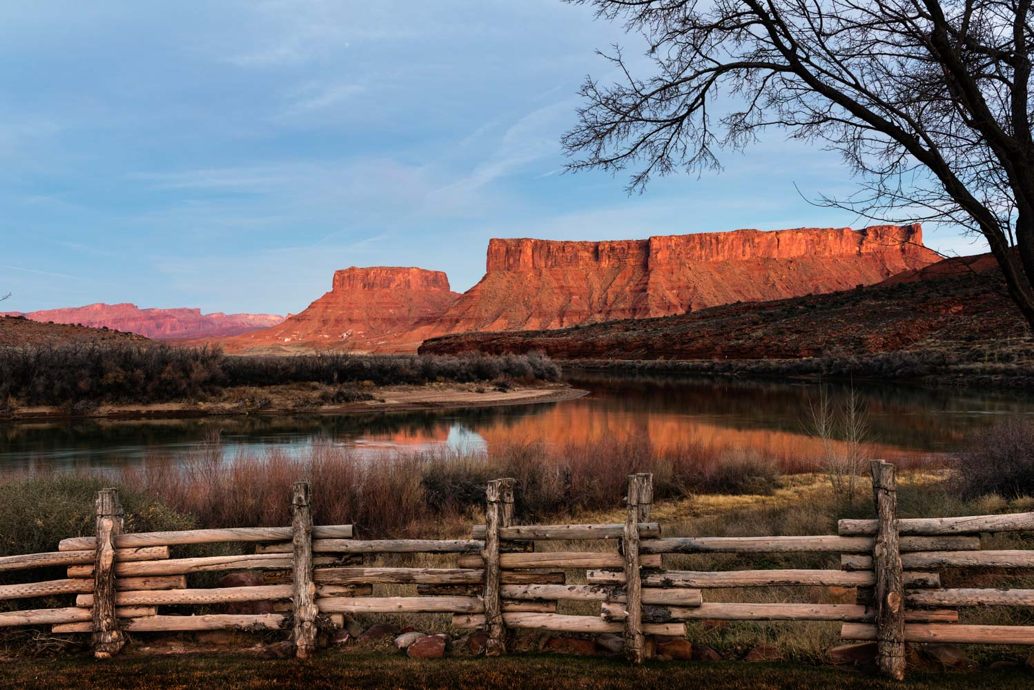 View from our riverside suite at Red Cliffs Lodge, Moab;Nikon D810, 24–70mm, f/8, 2.5s, ISO 200
