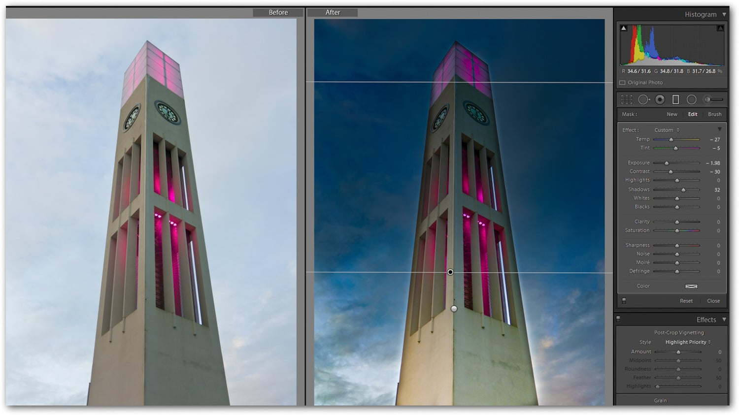 Image 6 — combining the Graduated Filter with the Adjustment Brush