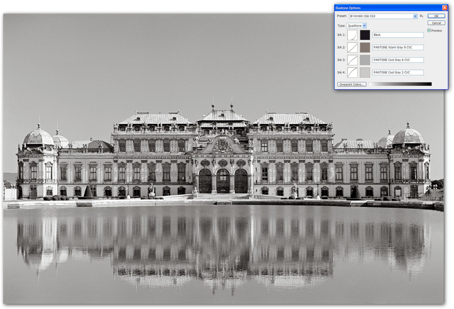 Image 10 — the Duotone mode (Belvedere in Vienna)