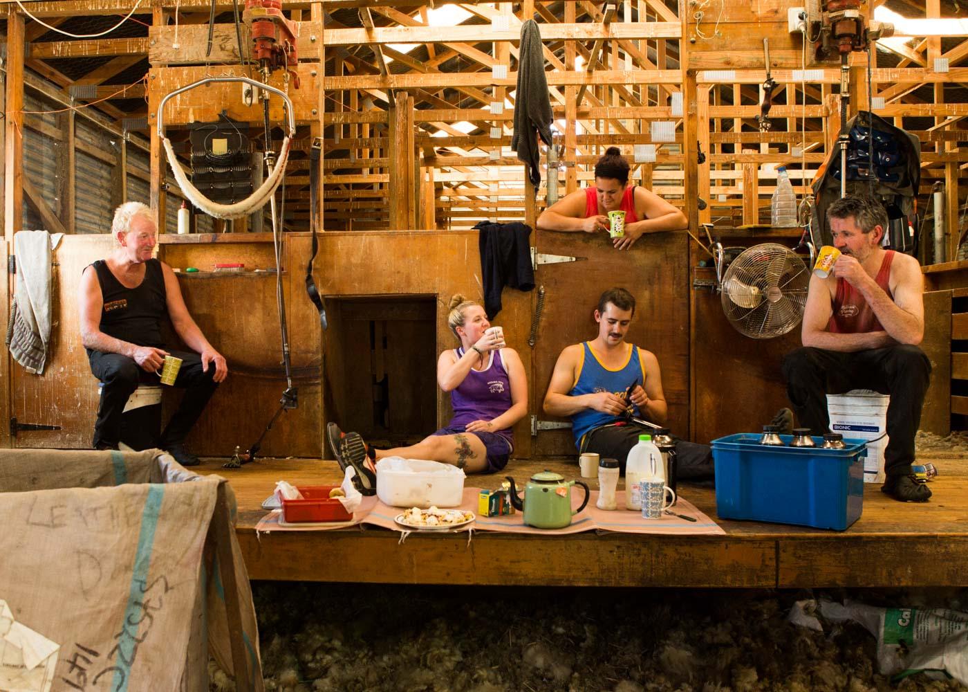 Merit Award: Shearing Time Smoko by Bev Bell