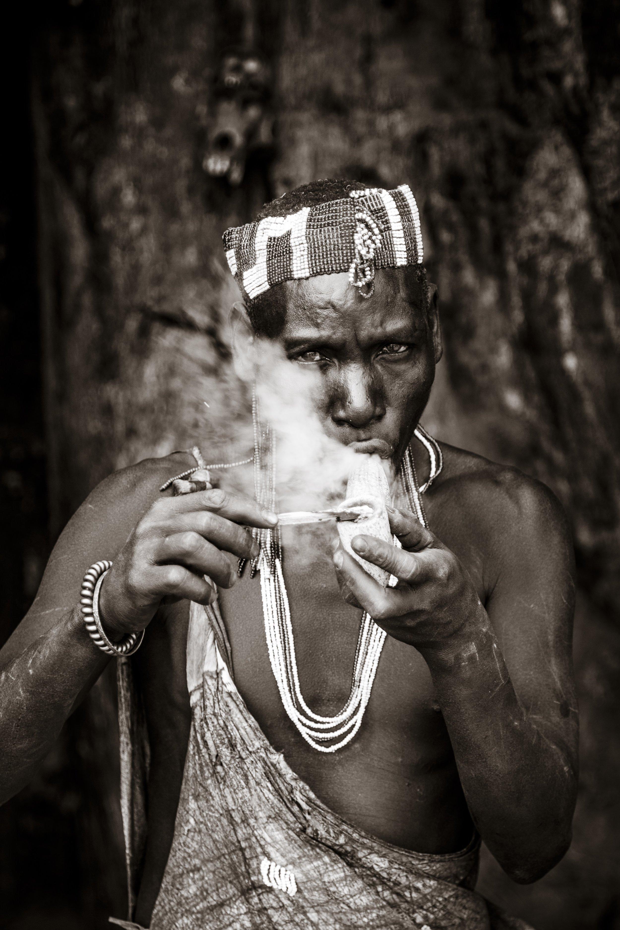The Hadzabe Smoker  from  The Hadzabe of Tanzania  series
