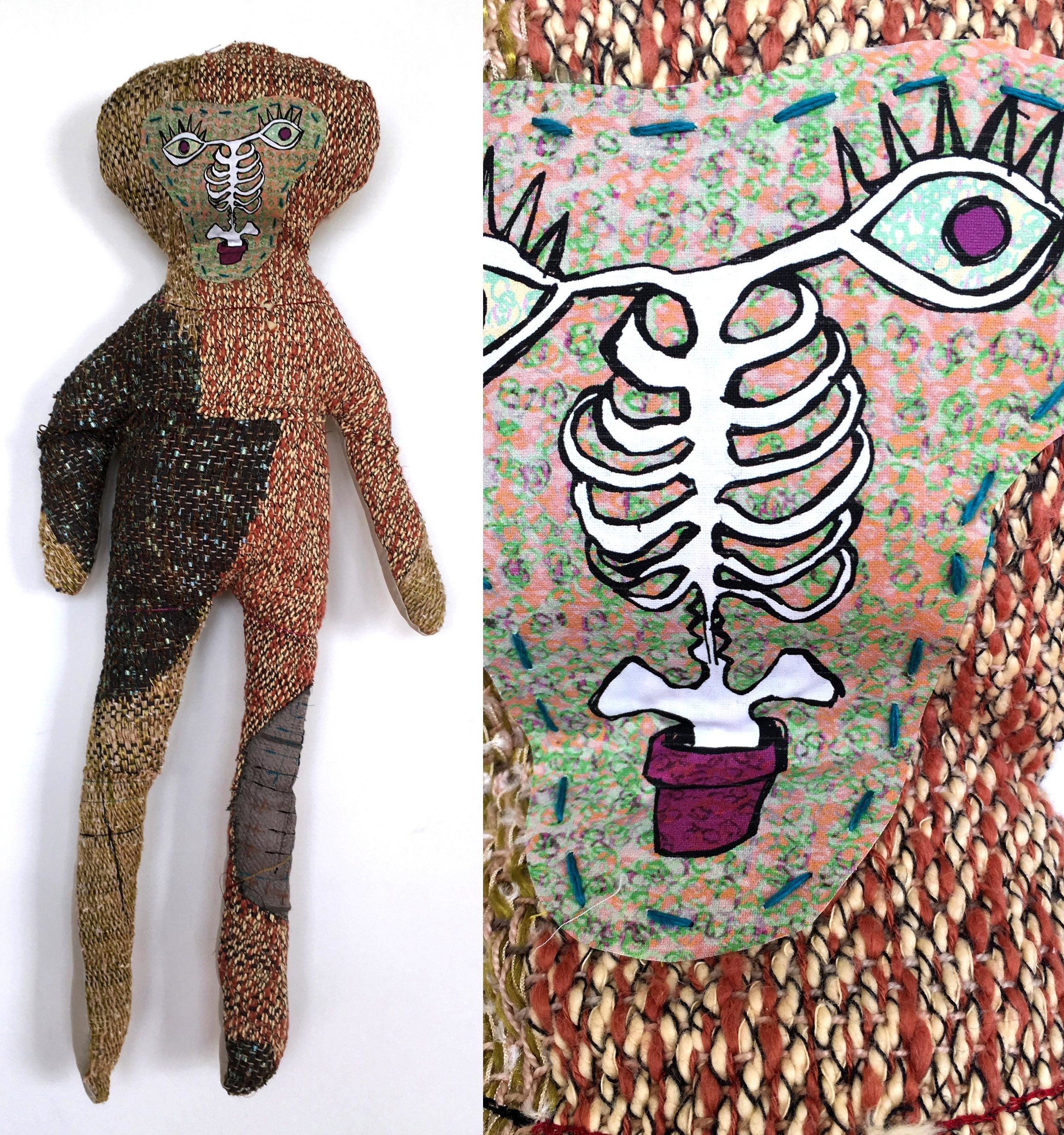 """Spine Child  h: 28"""" x w: 12"""" hand-woven and machine-made fabric, embroidery, inkjet prints, fleece 2017"""