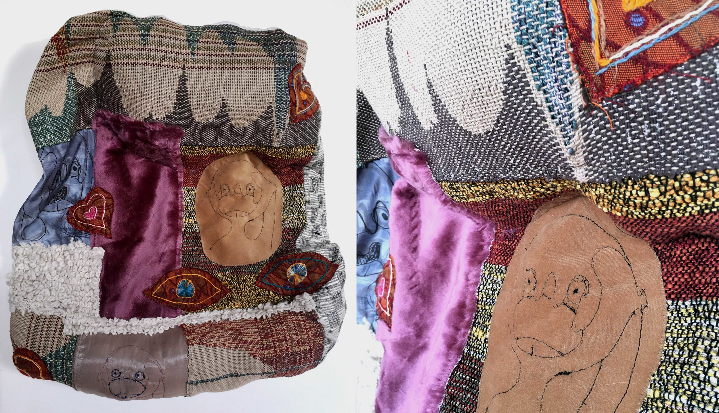 """I Can Stick My Whole Hand in My Mouth  h: 27"""" x w: 25"""" hand-woven and machine-made fabric, embroidery, inkjet prints, fleece 2017"""