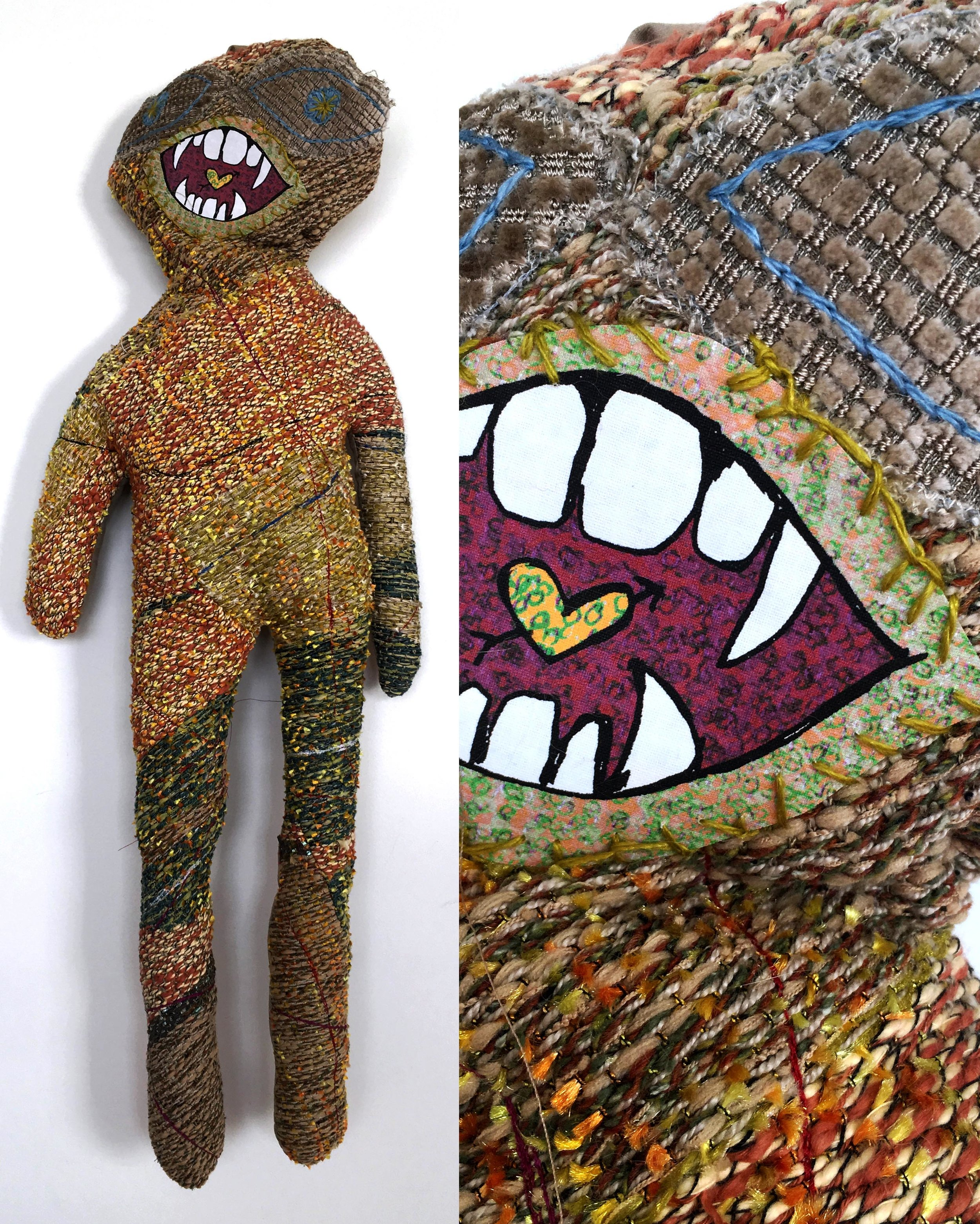 """Love Child  h: 28"""" x w: 12"""" hand-woven and machine-made fabric, embroidery, inkjet prints, fleece 2017"""