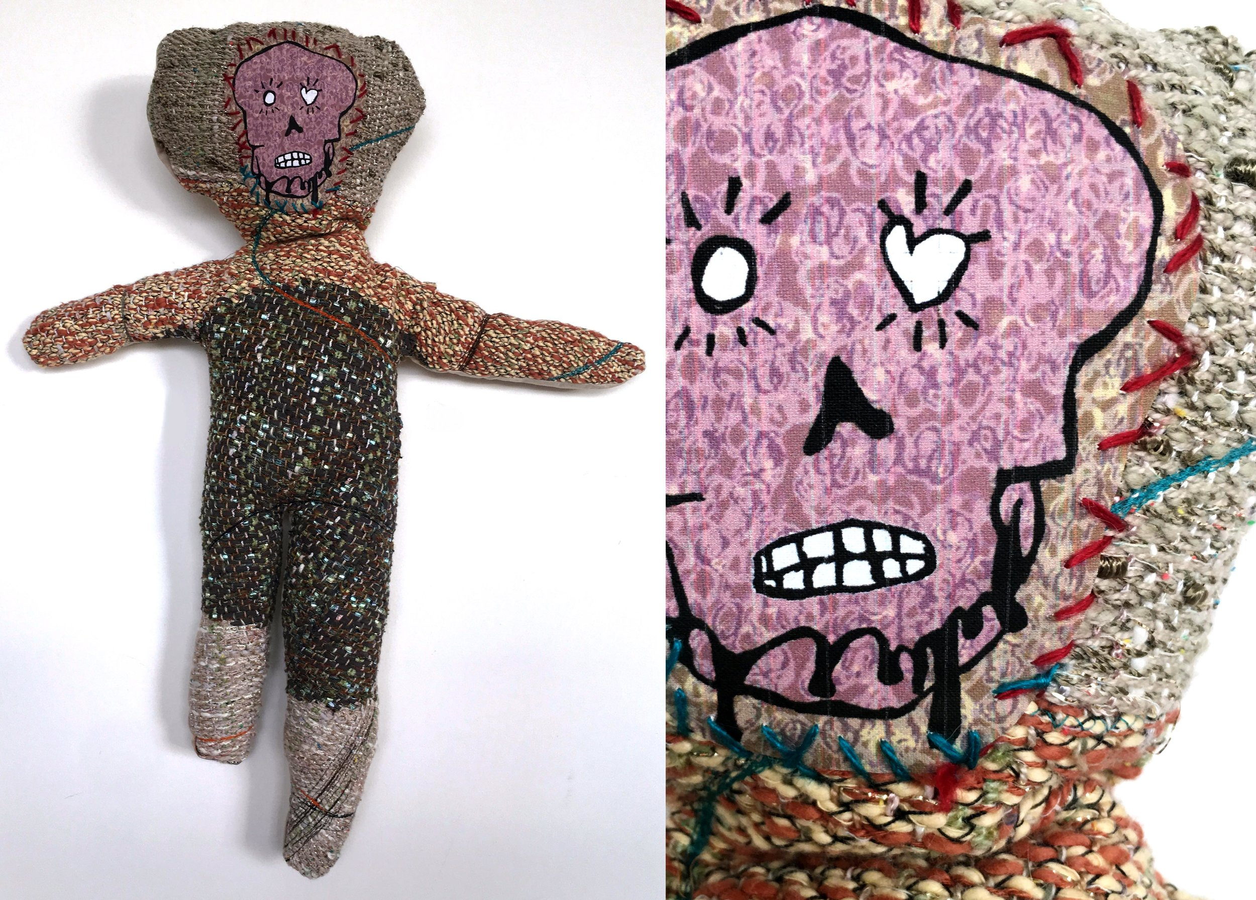 """Skeleton Baby  h: 28"""" x w: 12"""" hand-woven and machine-made fabric, embroidery, inkjet prints, fleece 2017"""