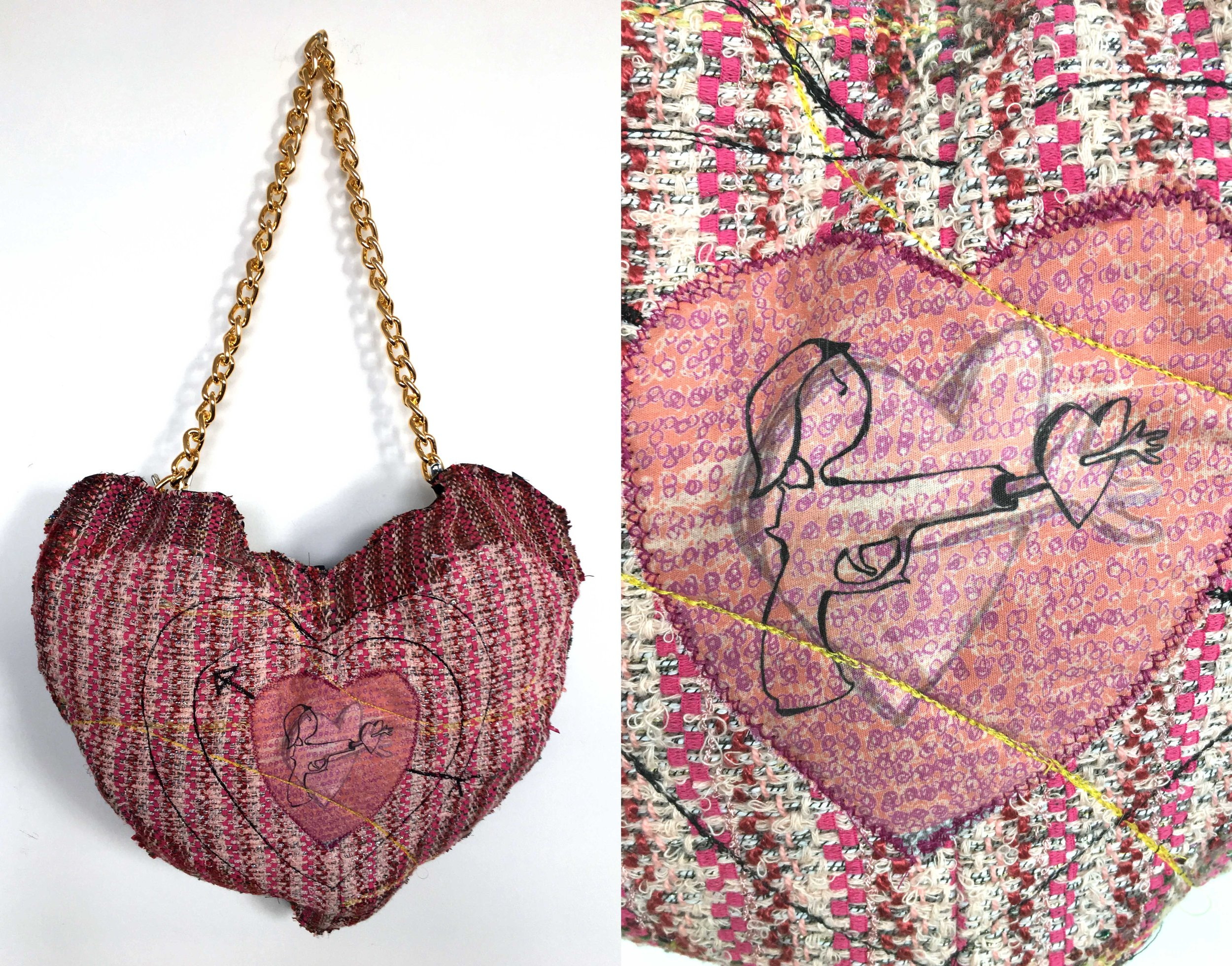"""Rip My Heart Out  h: 19"""" x w: 13"""" hand-woven and machine-made fabric, embroidery, inkjet prints, fleece, chain 2017"""