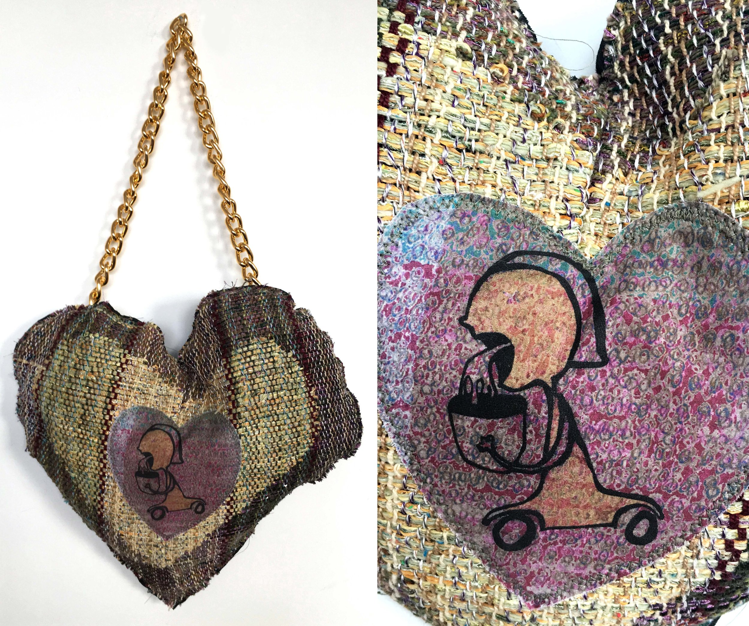 """Love Sick  h: 17"""" x w: 13"""" hand-woven and machine-made fabric, embroidery, inkjet prints, fleece, chain 2017"""
