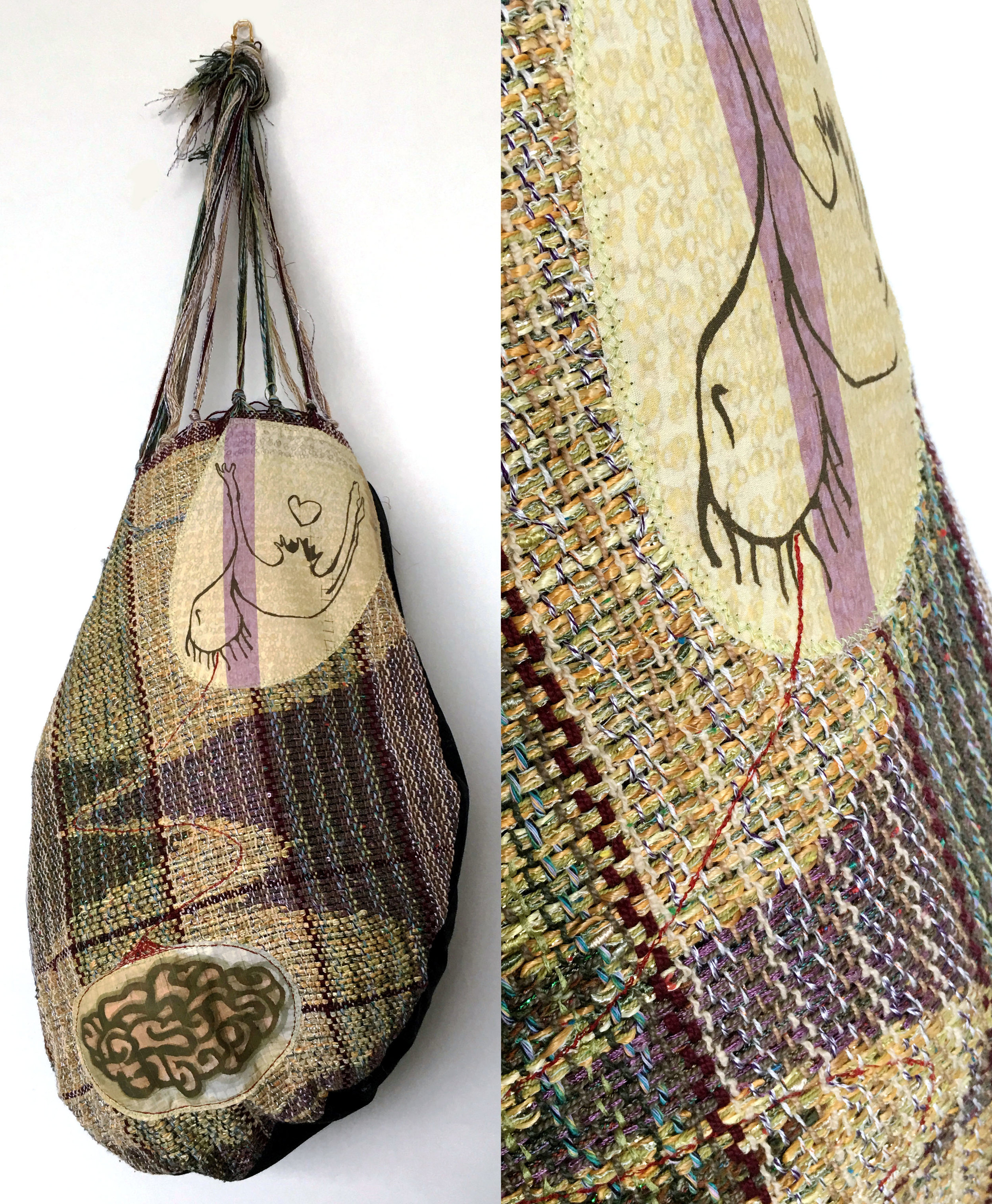 """Brain Drain  h: 28"""" x w: 10"""" x d: 10"""" hand-woven and machine-made fabric, embroidery, inkjet prints, fleece 2017"""