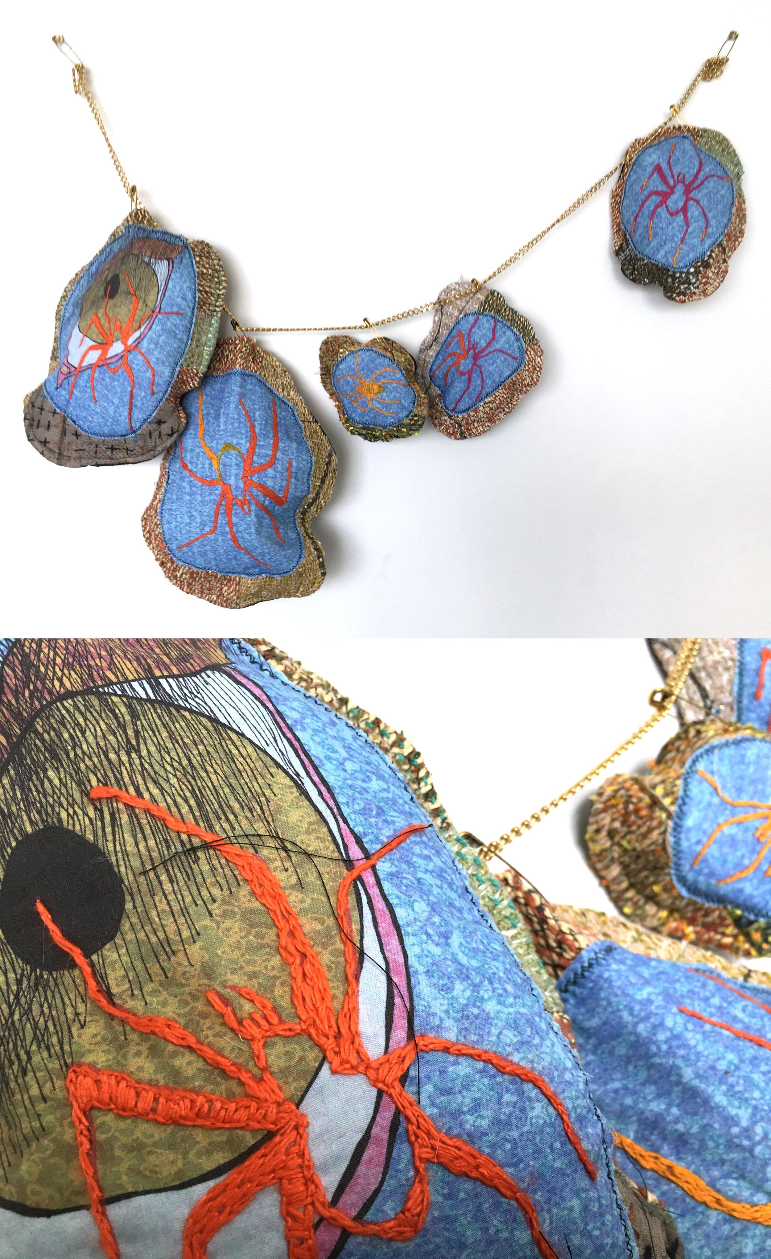 """Spider Necklace  h: 14"""" x w: 30"""" hand-woven and machine-made fabric, embroidery, inkjet prints, fleece, chain 2017"""