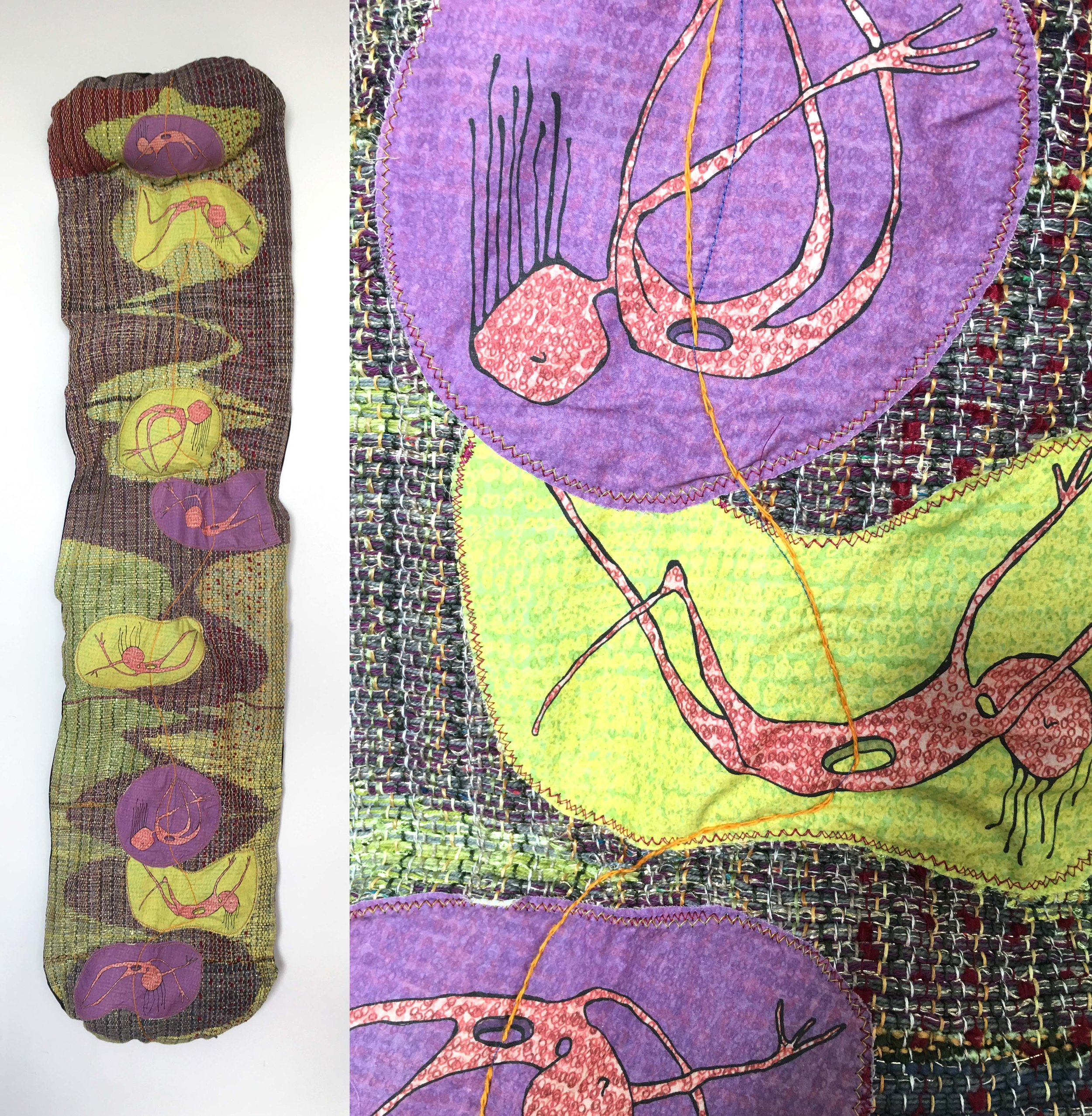 """I Fell for You Three Times (purple)  h: 72"""" x w: 15"""" hand-woven and machine-made fabric, embroidery, inkjet prints, fleece 2017"""