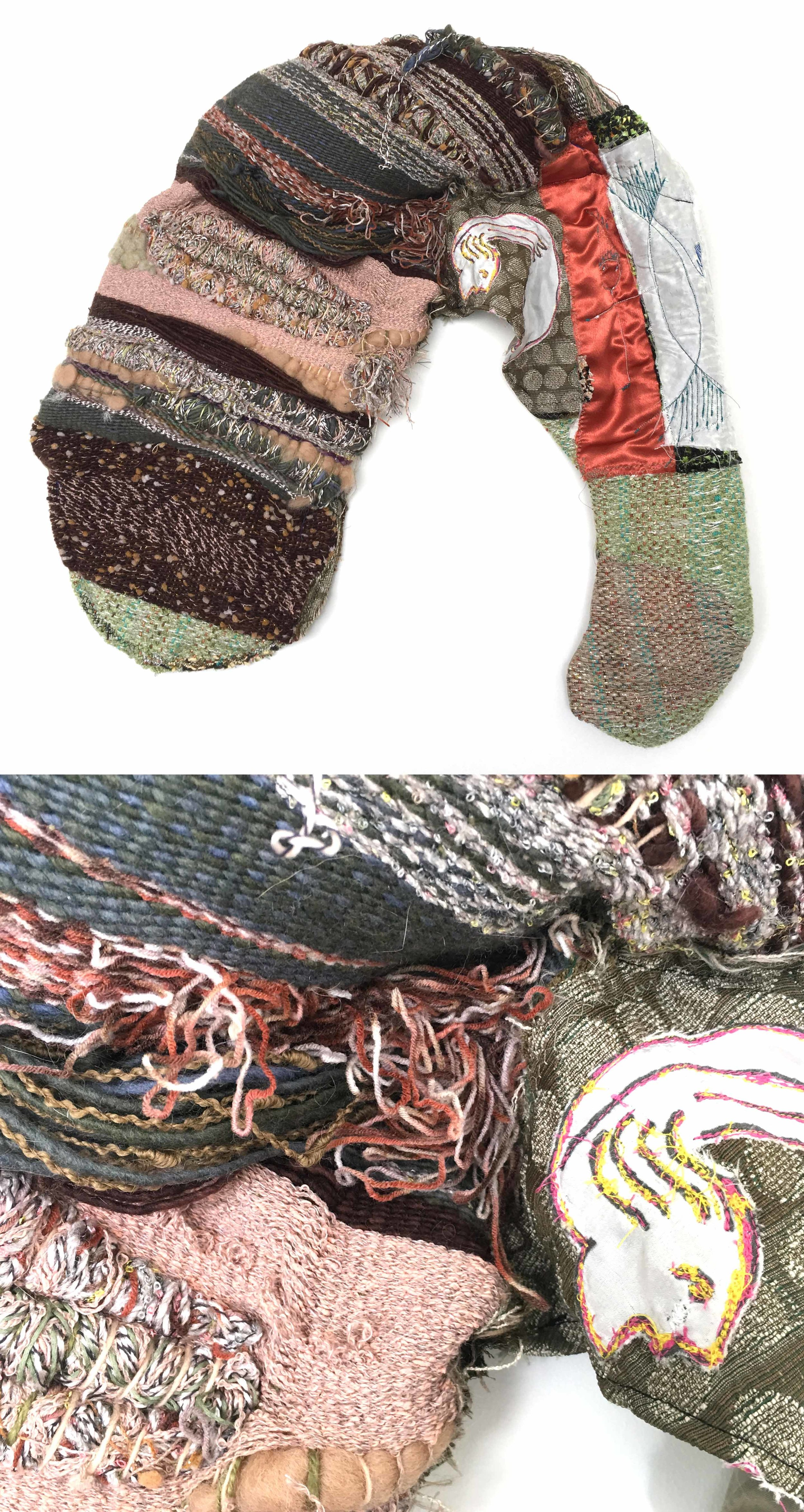 """Eat My Feet (1)  h: 24"""" x w: 27"""" hand-woven and machine-made fabric, embroidery, inkjet prints, fleece, wire 2017"""